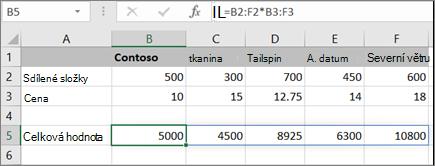 Příklad maticového vzorce pro výpočet více výsledků