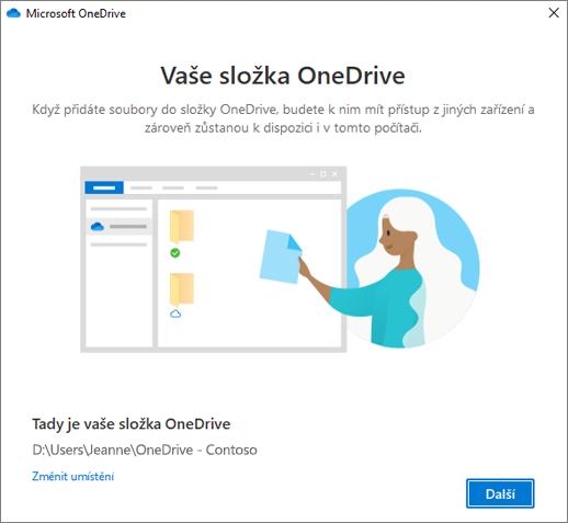 Obrazovka se zprávou Toto je vaše složka OneDrive v průvodci Vítá vás OneDrive