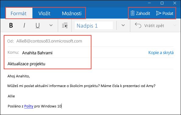 E-mailová zpráva v e-mailové aplikaci