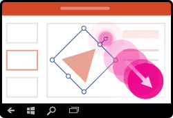 Gesto rotace tvaru v PowerPointu pro Windows Mobile
