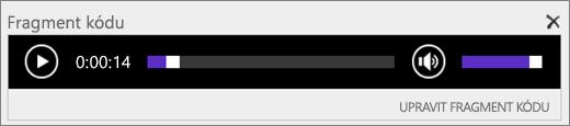 Snímek obrazovky se SharePointem Online s ovládacím panelem zvuku Fragment kódu, který zobrazuje celkovou délku zvukového souboru a nabízí ovládací prvky pro spuštění a zastavení přehrávání souboru
