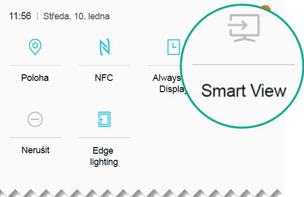 Na panelu Rychlé nastavení najděte aplikaci Smart View a klepnutím ji otevřete.