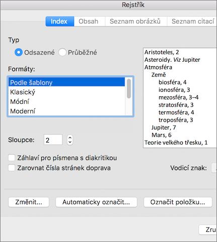 Možnosti, které můžete nastavit v dialogovém okně Rejstřík