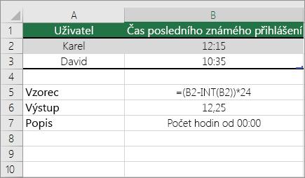 Příklad: Převod hodin ze standardního časového formátu na desetinné číslo