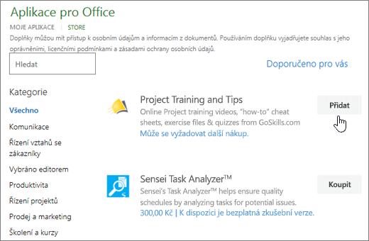 Snímek obrazovky stránky doplňky Office Store, kde můžete vybrat nebo vyhledejte doplněk pro projekt.