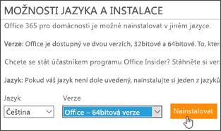 Snímek obrazovky s možnostmi jazyka a verze a tlačítkem Nainstalovat