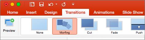 Ukazuje Morfing v nabídce Přechody v PowerPointu 2016 pro Mac.