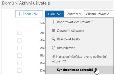 V nabídce Další zvolte Synchronizace adresářů.