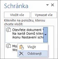 Odstranění položky ze schránky Wordu 2013