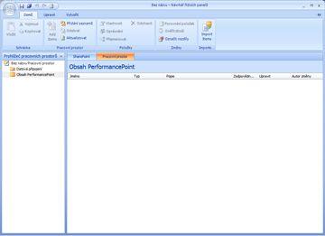 Návrhář řídicích panelů PerformancePoint, ve kterém můžete vytvářet, upravovat a publikovat obsah řídicího panelu