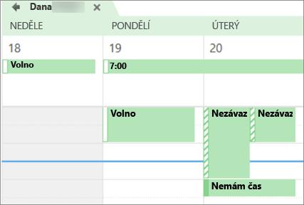Jak vypadá váš kalendář osobě, se kterou jste ji sdíleli.
