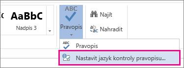 Nastavení jazyka pro kontrolu pravopisu