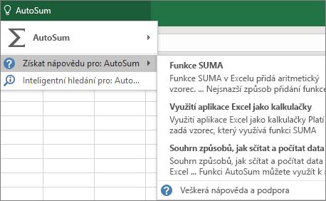 Získání nápovědy v Excelu