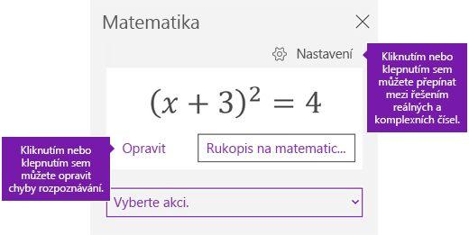 V podokně úloh matematické rovnice