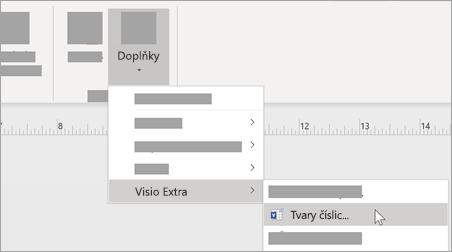 Na kartě zobrazení vyberte doplňky > Visio Extra > číslo obrazce, které chcete přidat formátování čísel.