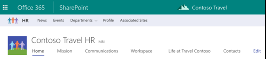 Navigace na webu sdílí centrální služby SharePoint