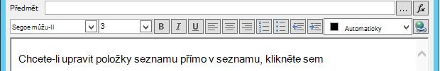 Definování obrazovky e-mailové zprávy po vložení proměnné