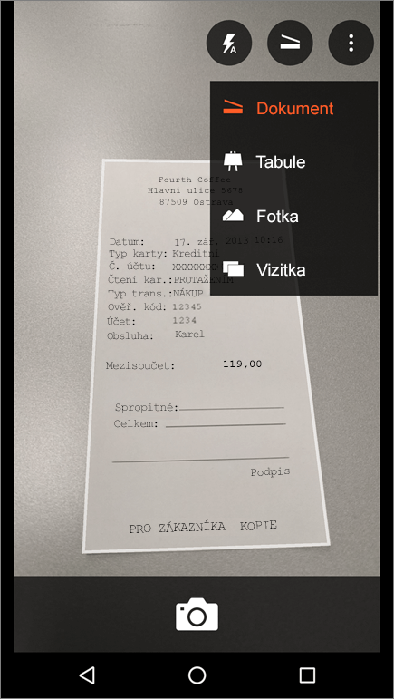 Snímek obrazovky znázorňující, jak zachytit obrázek v Office Lens pro Android