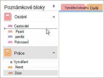 Přetažení oddílů z jednoho poznámkového bloku do druhého