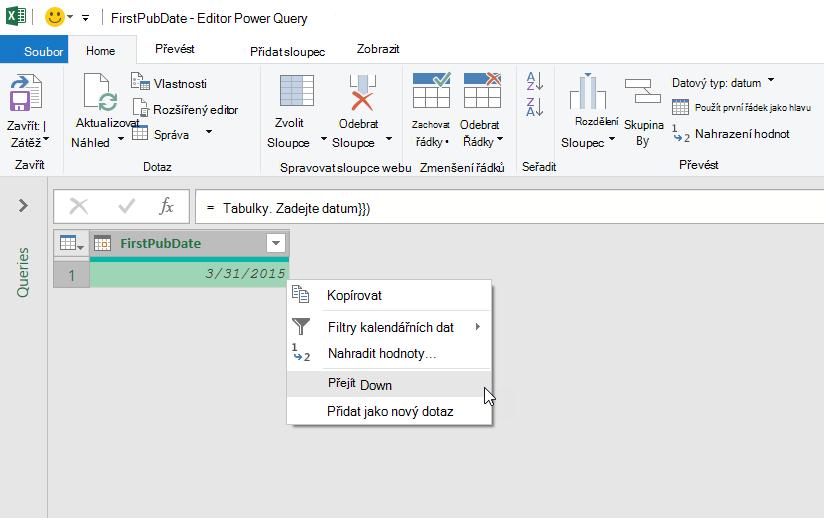 Kontextová nabídka editoru Power Query pro hodnotu pole