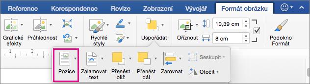 Klepnutím na tlačítko pozici nastavit umístění tabulky relativní okolního textu.