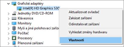 Ovladače grafického adaptéru můžete ve Windows spravovat pomocí Správce zařízení.
