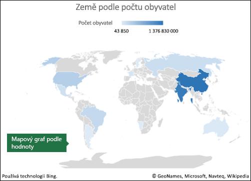 Mapový graf Excelu s údajem hodnoty