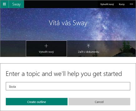 Složený snímek obrazovky s obrazovkou Vítá vás Sway a s podoknem pro zadání tématu Rychlého automatu.