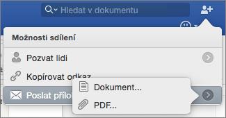 Vyberte požadovaný formát u dokumentu, který chcete odeslat, Word dokument nebo soubor PDF.