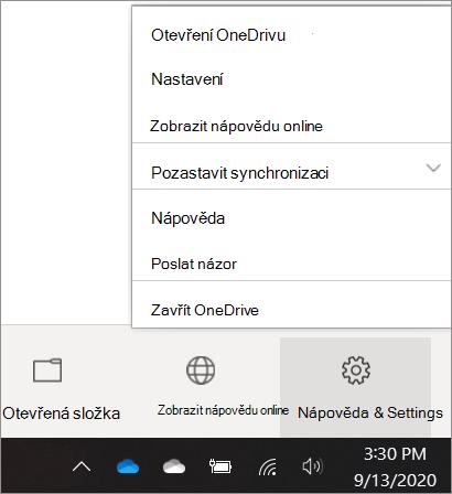 Snímek obrazovky, který ukazuje, jak se dostat k nastavení OneDrivu