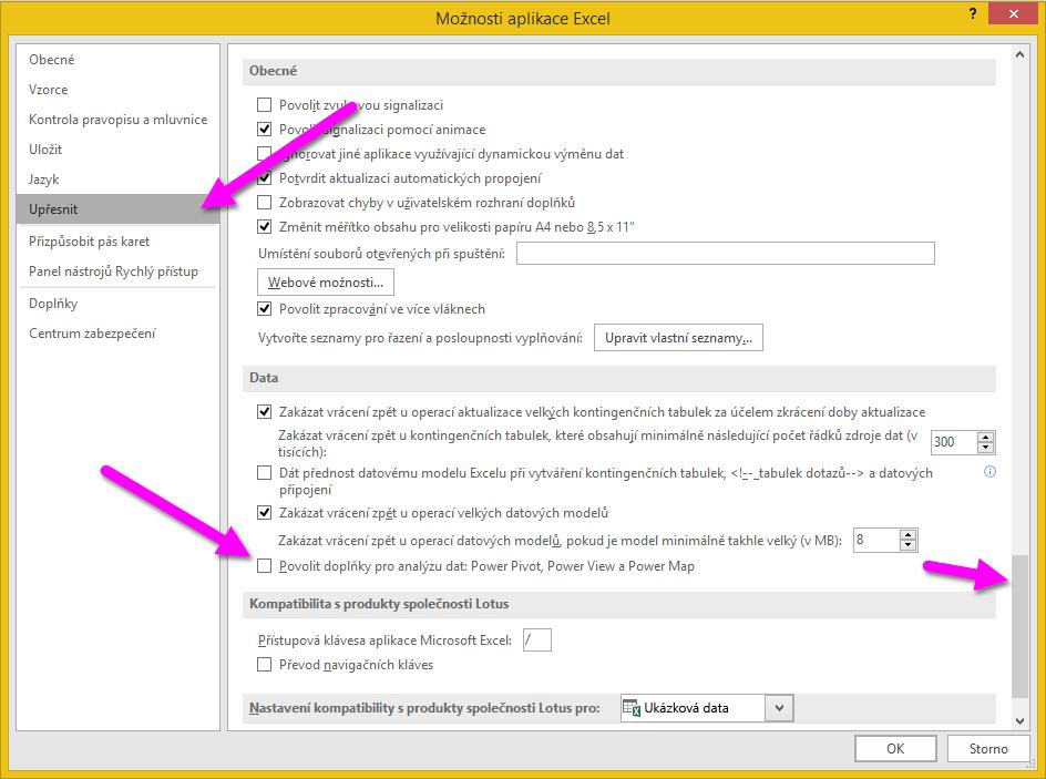 Okno možností Excelu
