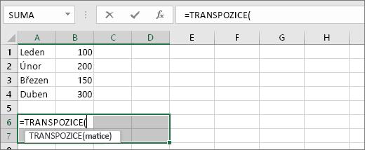 =TRANSPOZICE(