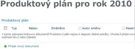Knihovna Plánování produktu na stránce