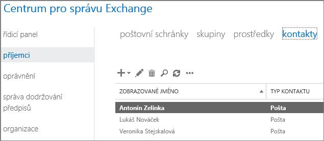 Zobrazení kontaktů při řešení kódu oznámení o doručení 5.7.136