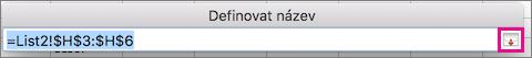 Tlačítko Rozbalit dialogové okno v dialogovém okně Název