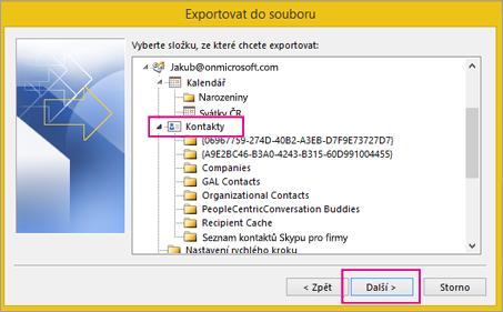 Posuňte se nahoru a zvolte složku kontaktů, ze které chcete exportovat kontakty.