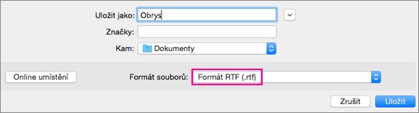 Uložení jako soubor ve formátu RTF