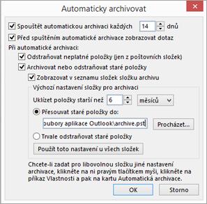 Toto je, kde můžete vybrat možnosti automatické archivace.