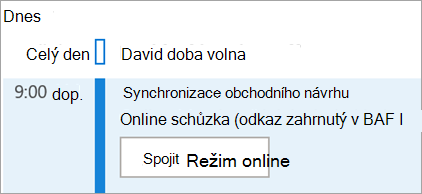 Zobrazuje tlačítko Připojit se online u schůzek