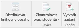 Řádek s ikonami funkcí Distribuovat knihovnu obsahu,