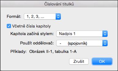 Automatické přidání čísel kapitol titulků v aplikaci Word
