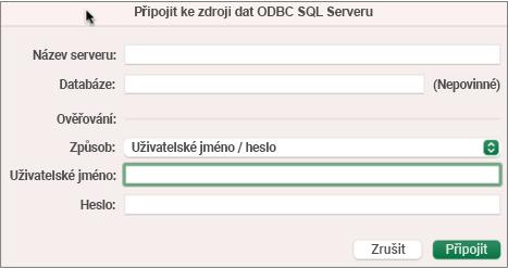 Dialogové SQL Server pro zadání serveru, databáze a přihlašovacích údajů