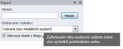 Když zapnete možnost Zahrnout obsah z Bingu, dostanete více výsledků hledání, ze kterých si můžete vybrat.