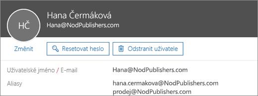 Tento uživatel má primární adresu a dva aliasy.