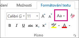 Tlačítko Velká písmena na kartě Formátování textu