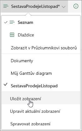 SharePoint Online možnosti zobrazení s uložit zvýrazněnými ikonami
