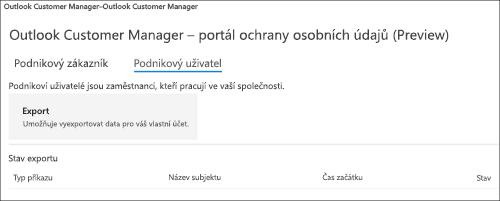 Kopie obrazovky: Správce informací o zákaznících exportem Outlooku dat zaměstnanců