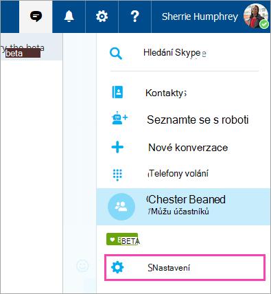 Snímek obrazovky s tlačítkem nastavení v nabídce Skypu