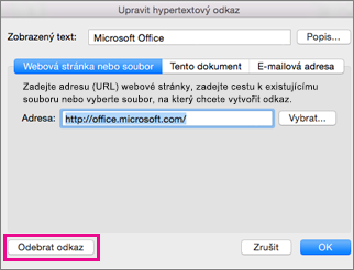 Office for Mac remove hyperlink
