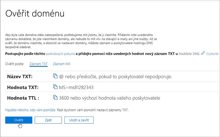 Freenom ověření vaší domény v Office 365_C3_2017617122635